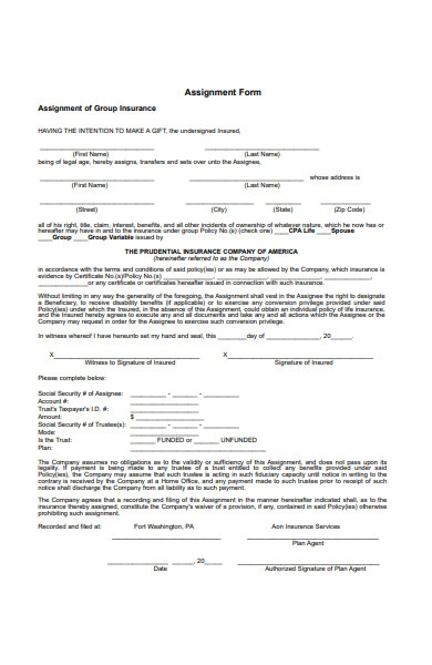 basic assignment form