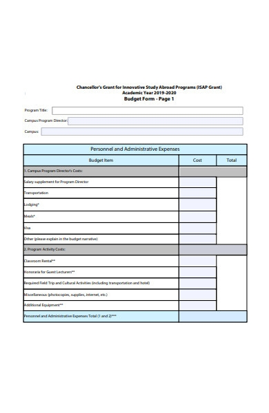 basic budget form template