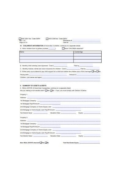 basic divorce form