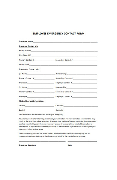 basic employee emergency contact form template