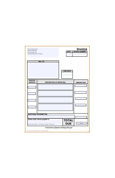 basic invoice form in pdf