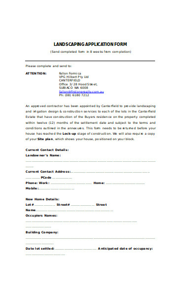 basic landscaping application form