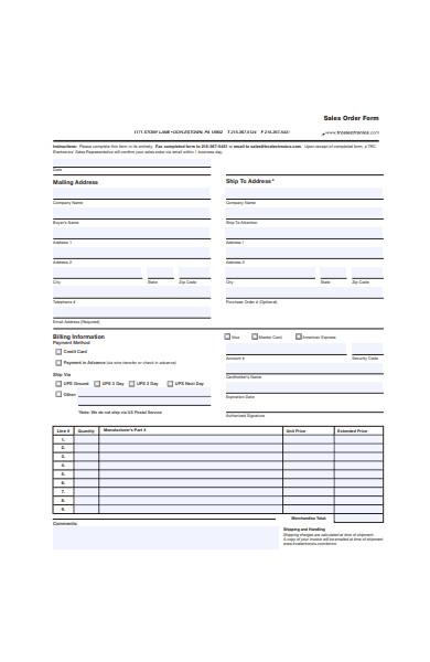 basic sales order form template