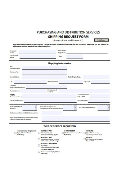 basic shipping request form