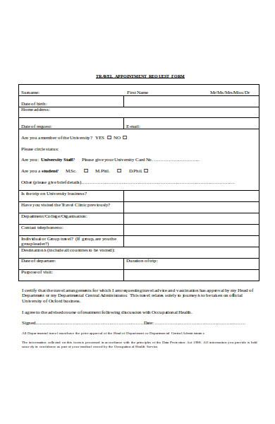 basic travel request form