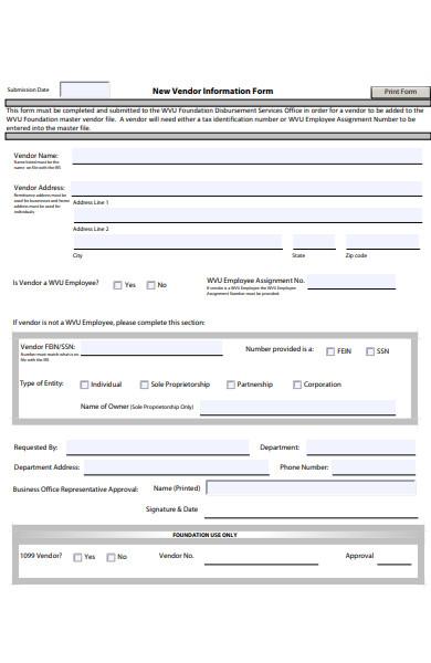 basic vendor form