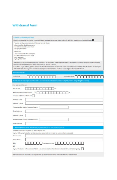 basic withdrawal form template