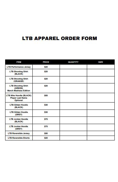 basket ball apparel order form