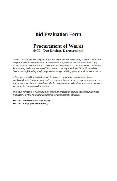 bid evaluation form