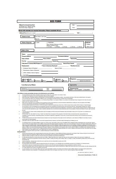 bid form format
