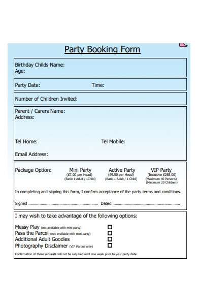 birthday party photography booking form