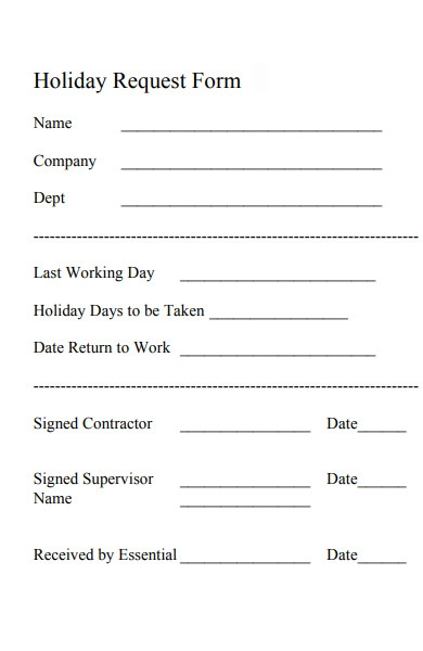 blank holiday request form