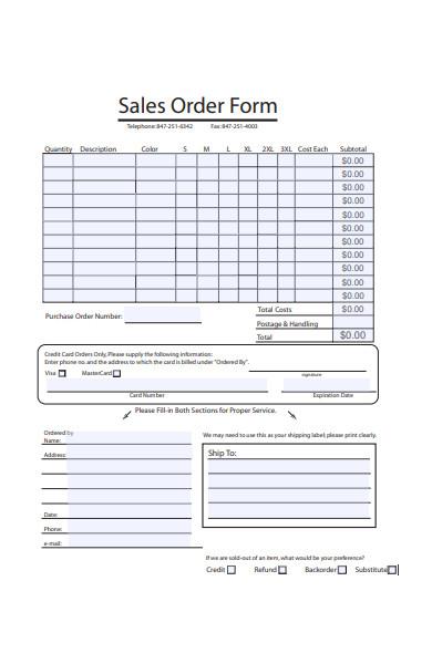 blank sales order form sample