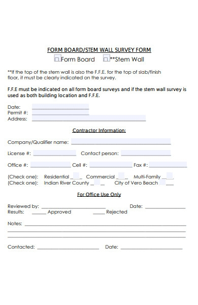board wall survey form