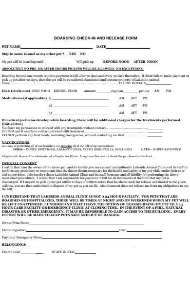boarding check in release form