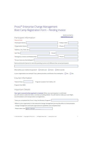 boot camp registration form in pdf