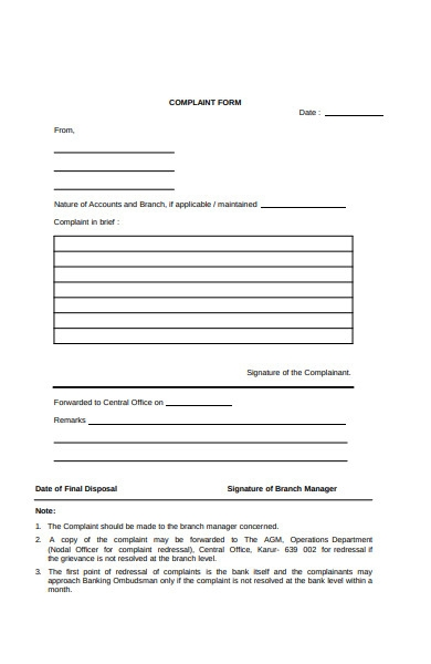 branch manager complaint form