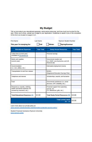 budget form sample