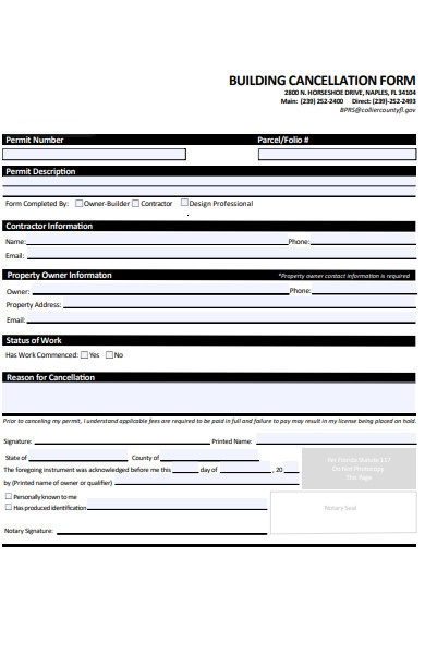 building cancellation form