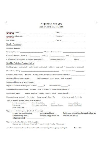 building survey sampling form
