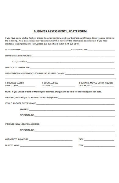 business assessment update form