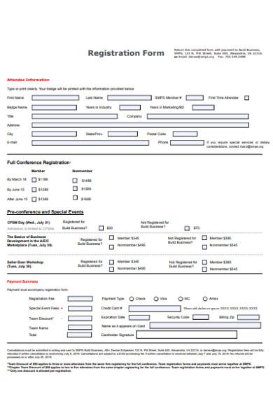 business conference registration form