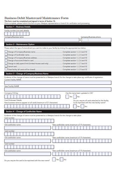 business mastercard maintenance form