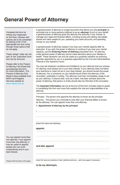 business power of attorney form