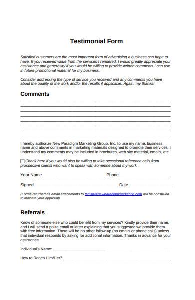 business testimonial form
