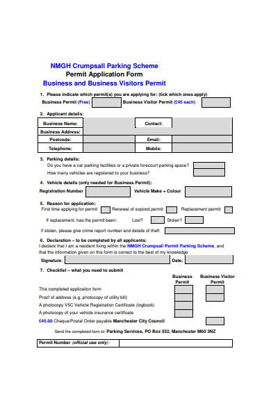 business visitors permit application form