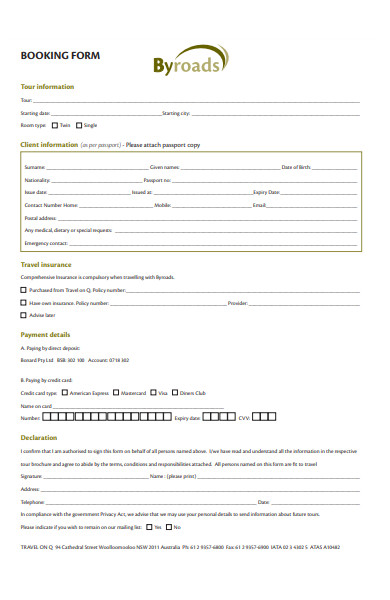 byroad travel booking form