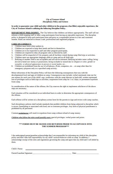 camp disciplinary form