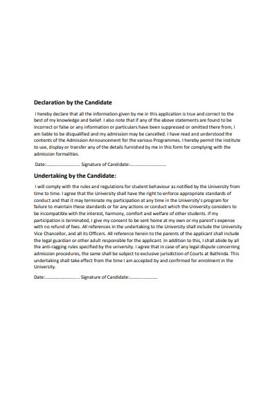 candidate declaration form