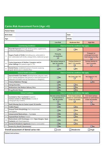 caries assessment form