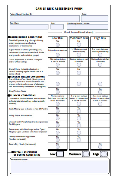 caries risk assessment form