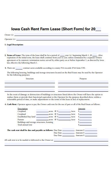 cash rent farm lease form