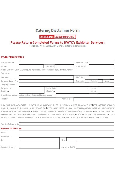 catering disclaimer form