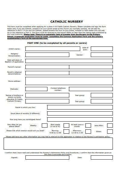 catholic school nursery form