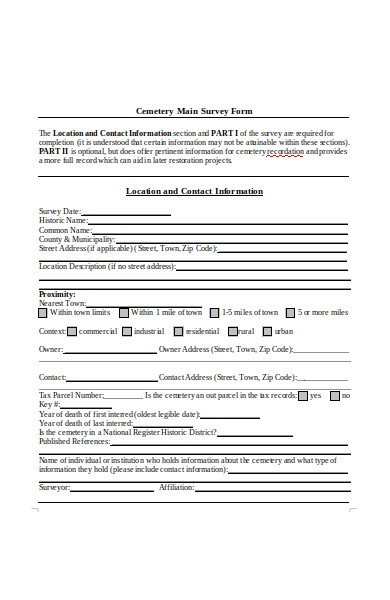 cemetery main survey form