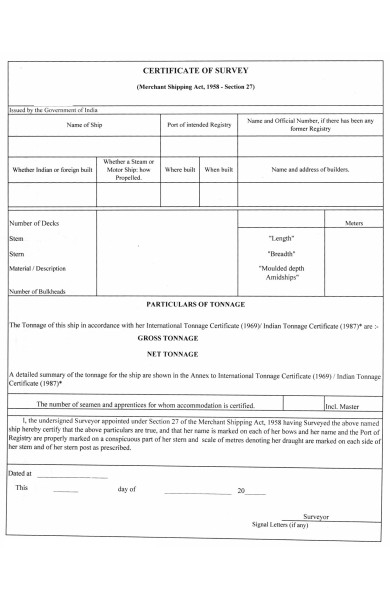 certificate of survey form