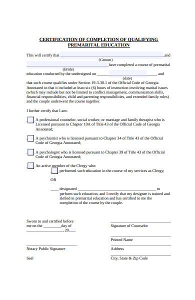 certification of premarital form