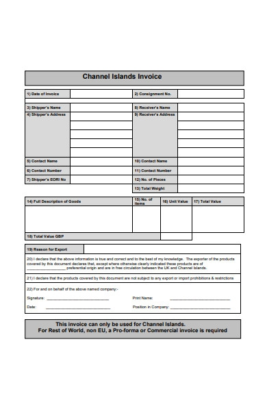 channel islands invoice form
