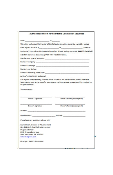 charitable authorization form