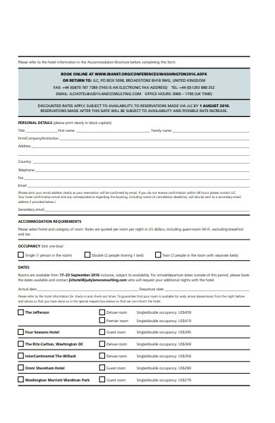check in accommodation form