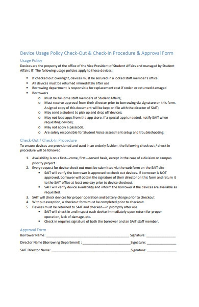 check in procedure approval form