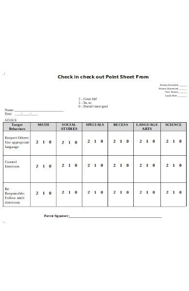 check in sheet form