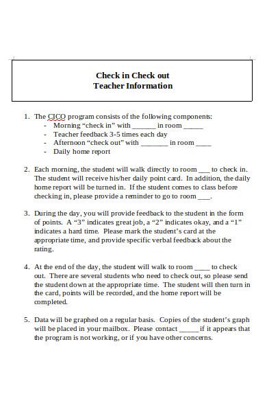 check in teacher information form