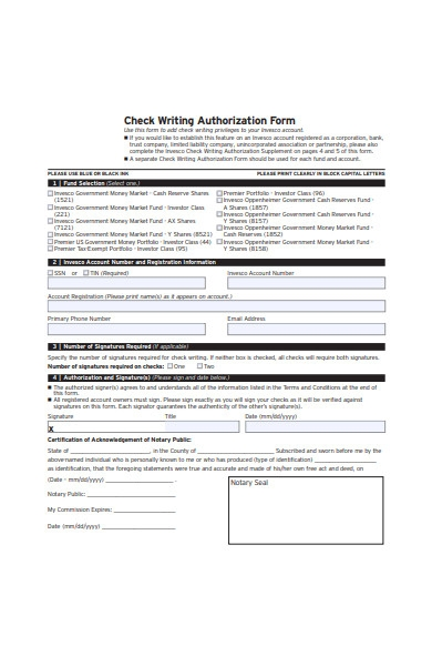 check writing authorization letter form