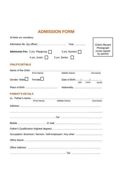 child admission form