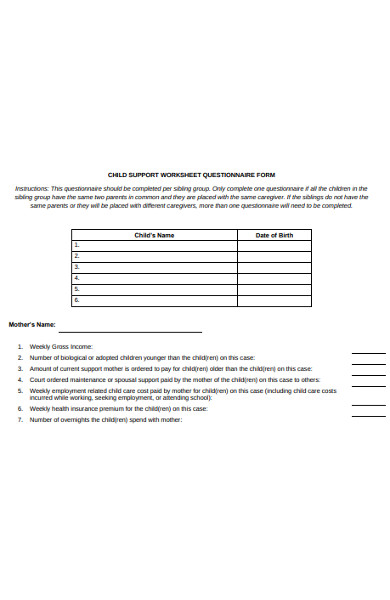 child support worksheet questionnaire form